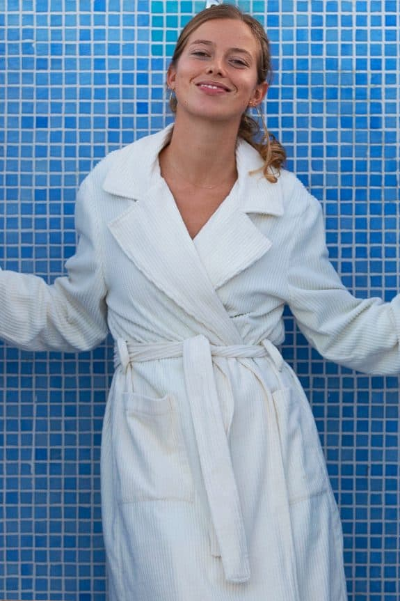 Corduroy long coat ecru detail by Sea Me Happy