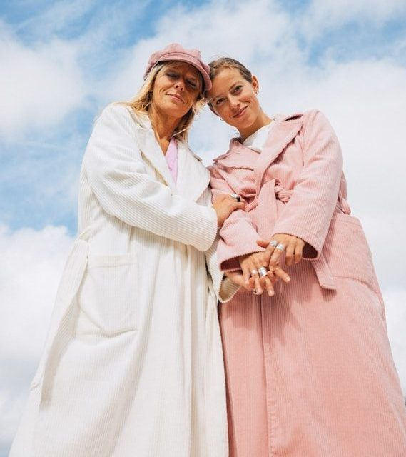 Corduroy coat ecru and rose by Sea Me Happy