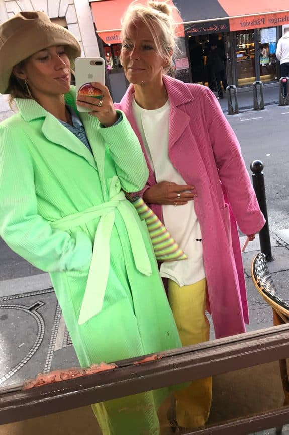 Corduroy long coat fluo green and fuchsia by Sea Me Happy