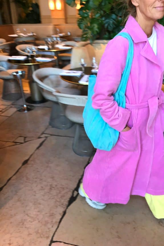 Corduroy long coat fuchsia and fluo yellow gypsy pants by Sea Me Happy