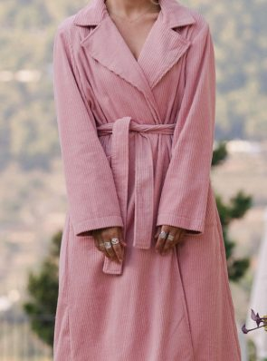 Corduroy long coat rose detail by Sea Me Happy