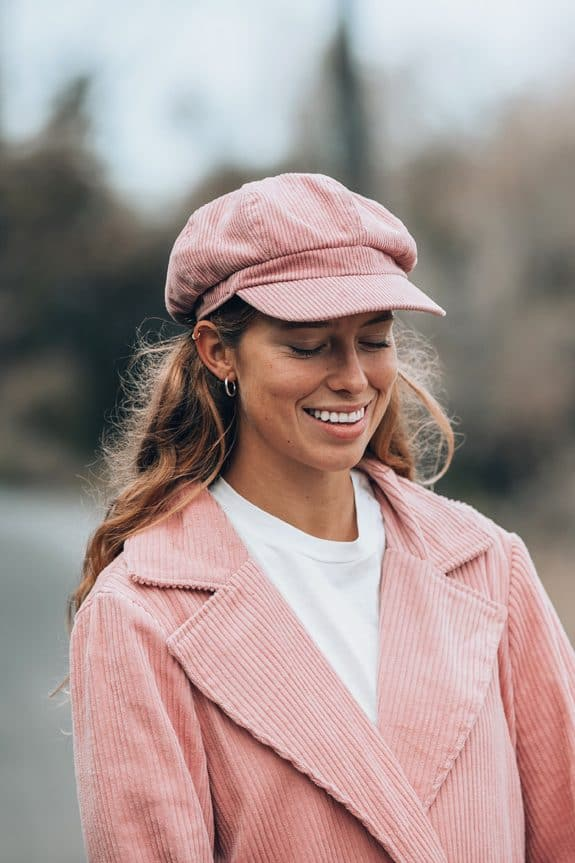 Corduroy long coat rose detail and Baker Boy hat by Sea Me Happy