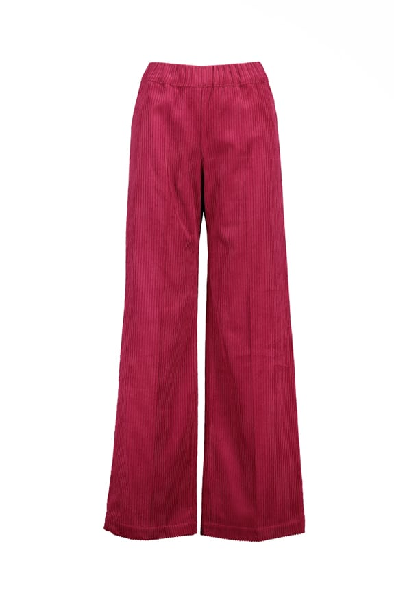 Sea Me Happy wide rib gypsy pants cherry red. Made in Belgium