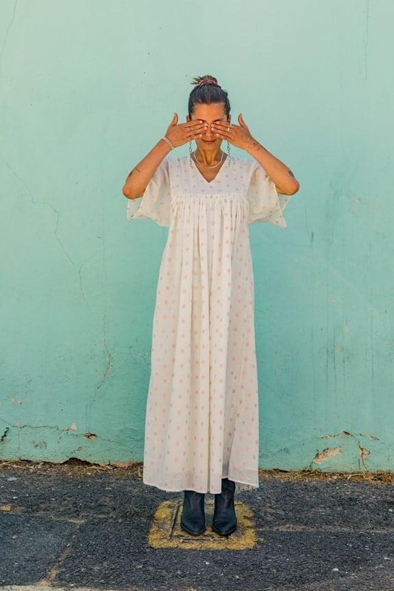 Sea Me Happy Aztec Dress, ecru with rose gold lurex dots, 100% cotton