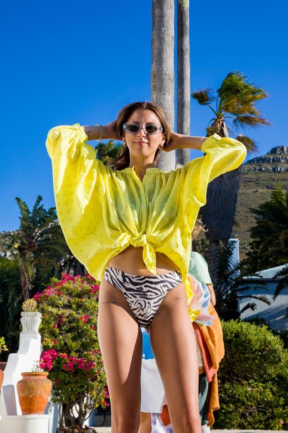 Sea Me Happy Bahia Balloon Blouse yellow. Batwing sleeves