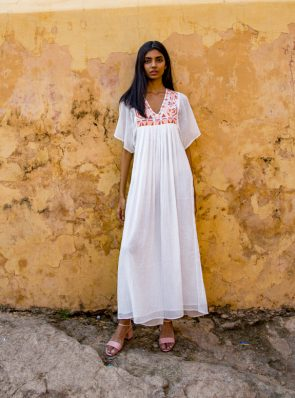 Sea Me Happy Tulum Dress ecru with earthy embroidery