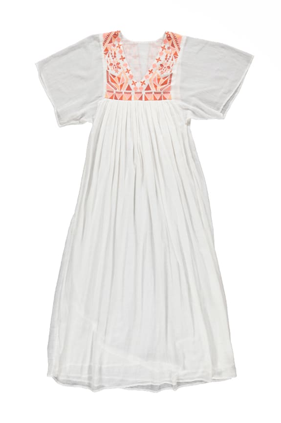 Sea Me Happy Tulum Dress ecru with earthy embroidery