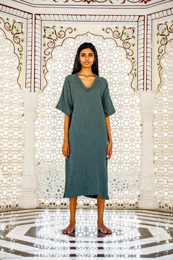 Sea Me Happy Bamboo Dress dark green, 100% cotton