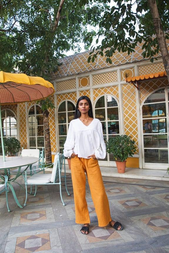 Sea Me Happy Bamboo Pants saffran and Maya blouse