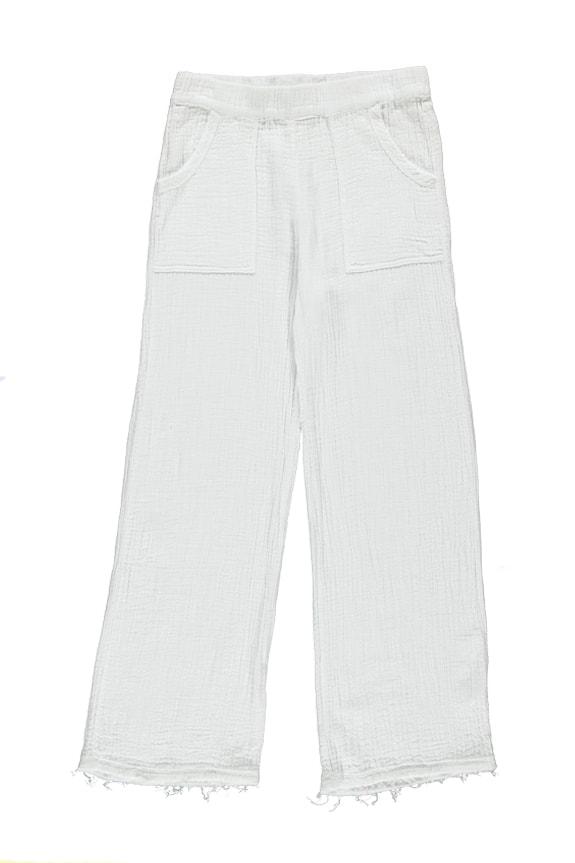 Sea Me Happy Bamboo Pants white