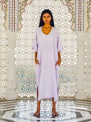 Sea Me Happy Rosalia Dress 100% linen, lavender