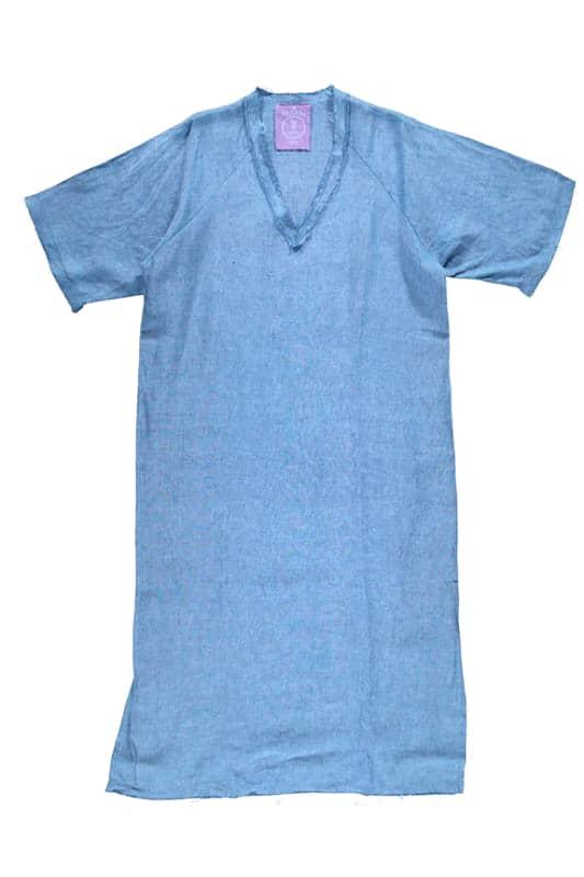 Sea Me Happy Dress Linen Jeans Blue with raffles
