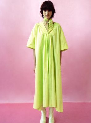 Sea Me Dress Short Sleeves paper touch lime
