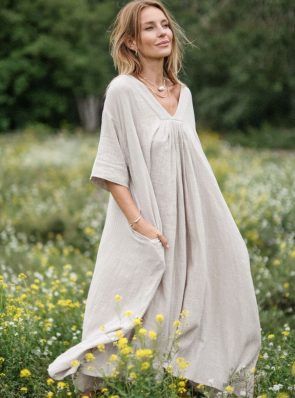 Sea Me Dress lightweight short sleeves sand