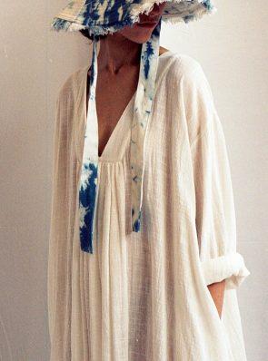 Sea Me Dress long sleeves, lightweight, ecru 100% cotton
