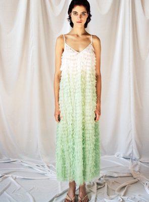 Sea Me Happy Feather Dress pistache