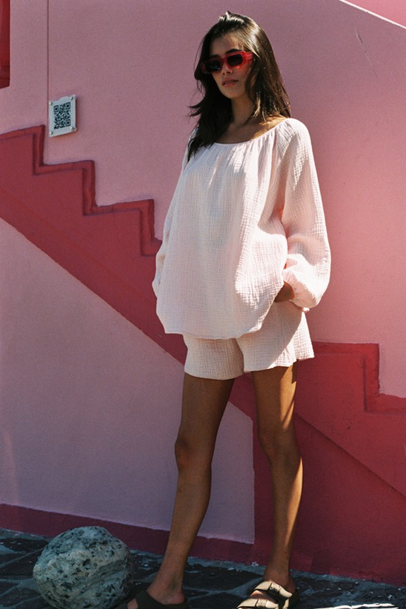 Datai Short and Morning Blouse in baby rose