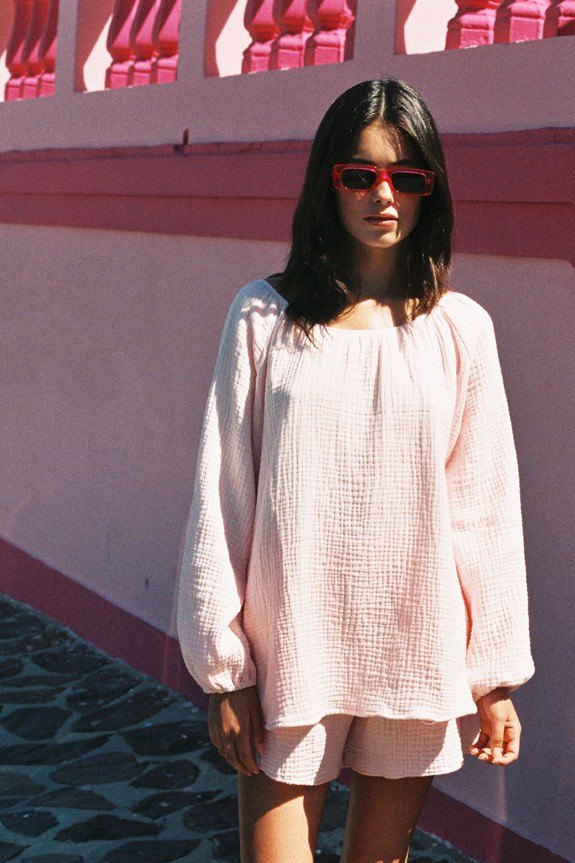 Sea Me Happy Morning Blouse baby pink