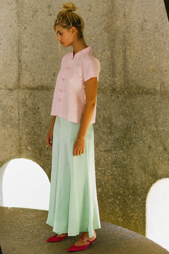 Sea Me Happy Lotus top cotton rose and Hanoi skirt pistache.