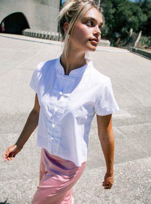 Sea Me Happy Lotus top cotton white and Hanoi skirt rose.