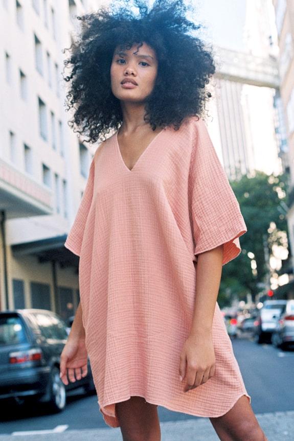Sea Me Happy Matiti Dress peach, 100% cotton