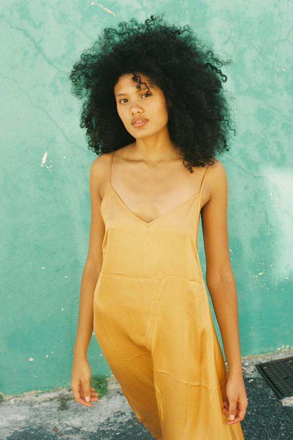Sea Me Happy Slip Dress gold