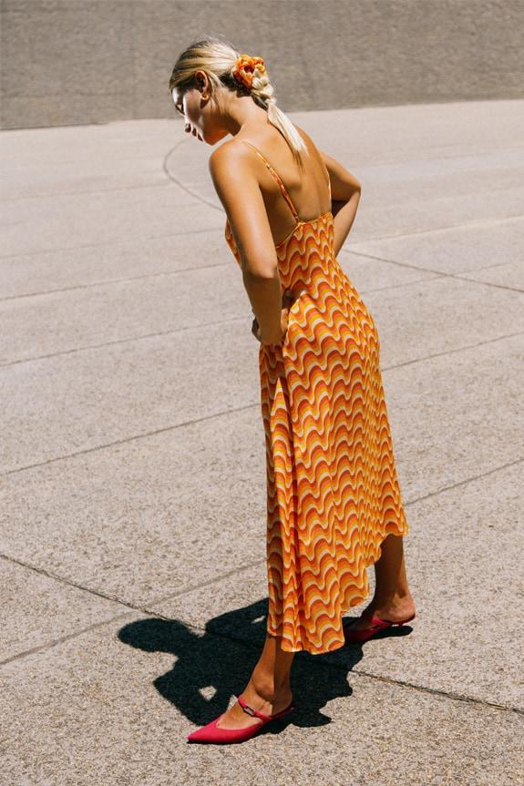 Sea Me Happy Slip Dress golden waves