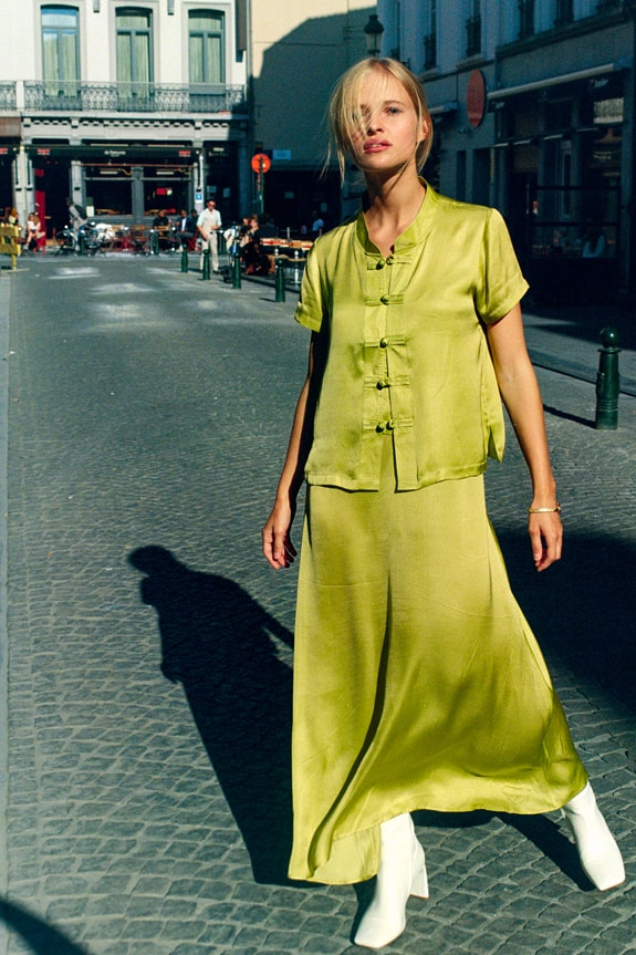 Sea Me Happy Slip Dress and Lotus Top in olive green