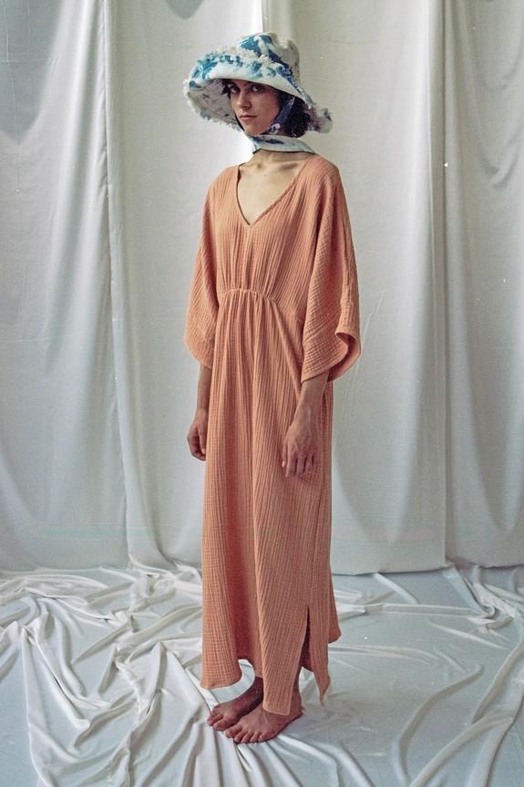 Sea Me Happy Cozumel Dress triple gauze peach