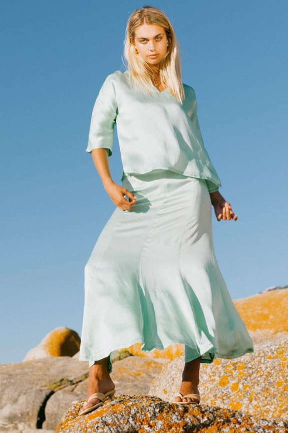 Sea Me Happy Hanoi Top and Hanoi skirt in pistache in 100% pure silk