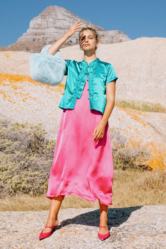 Sea Me Happy Lotus Top emerald and slip dress fuchsia