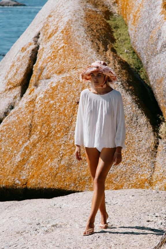 Sea Me Happy Mercedes Blouse in ecru, 100% cotton