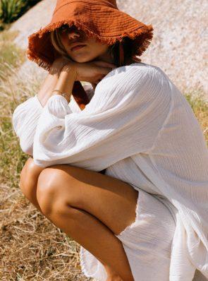 Sea Me Happy Mercedes Dress in ecru, 100% cotton and Soleado hat in rust