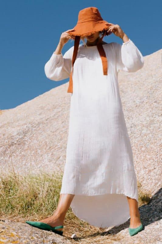 Sea-Sea Me Happy Mercedes Dress in ecru, 100% cotton and Soleado hat in rustMe-Happy-Mercedes-Dress-ecru-2