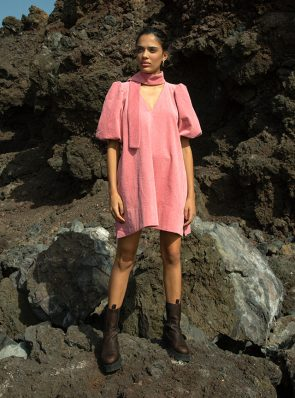 Sea Me Happy Twiggy short dress corduroy 70s rose