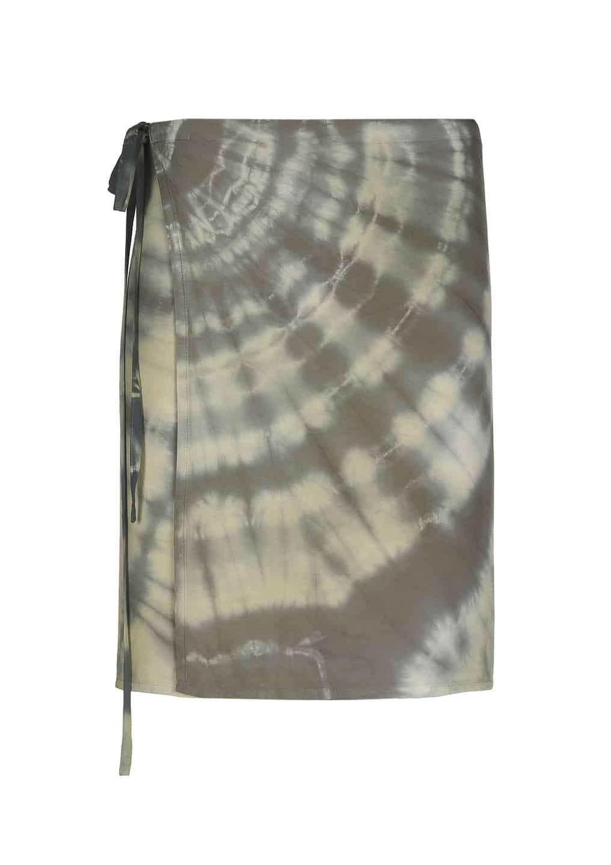 Sea Me Happy wrapskirt tie dye short, black khaki
